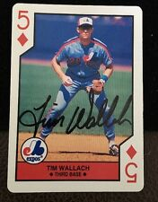 TIM WALLACH 1990 PLAYING CARD Autograph Signed AUTO Baseball Card EXPOS