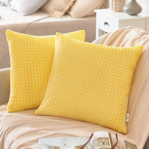 PAULEON Throw Pillow Covers 18x18 – Yellow and White, Set of 2 – Fluffy Fiber
