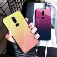 Back Cover Phone Case For Oneplus 6 6T Gradient Colorful Tempered Glass Hard New