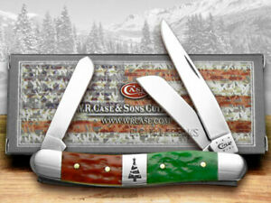 Case xx Med Stockman Knife Christmas Red & Bright Green Bone 65105