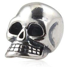 SKULL GOTH Genuine 925 Sterling Silver Charm Perline per Bracciale Europeo
