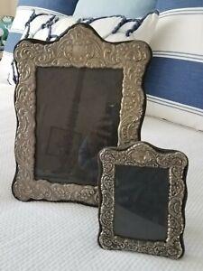 Vintage Antique Silver Repousse Picture Frame, Set of 2,