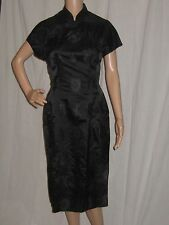 Vintage 1950's Black Satin Wiggle Dress Cheongsam Pinup Vixon Film Star Small