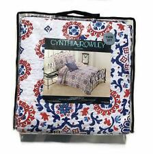 Cynthia Rowley 3pc Set Quilt Red Blue White Cotton Floral Boho Damask Medallions