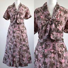 1940s ORIGINAL VINTAGE PINK PUSSY BOW SECRETARY DRESS 16