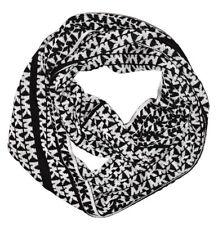NWT MICHAEL KORS Womens Infinity Scarf Black/White MK Logo Monogram $58 537495C