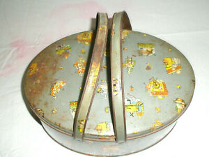 Vintage Sewing Tin Oval Spinning Wheels Windmills Baking Sewing
