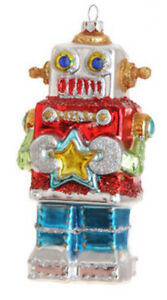 """RAZ 5.5"""" Blown Glass Robot Christmas Ornament-Choice of Red, Teal Or White Body"""