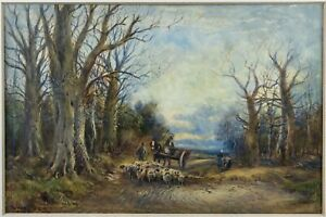 William Manners R.B.A (1860-1930) - Shepherd With Flock On Woodland Path, c.1910