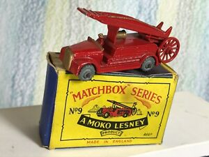"Matchbox Moko Lesney # 9a DENNIS FIRE engine 2.25"" 4GMW gold grille NMinGBox"