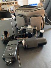 Asahi Pentax K-1000 35mm SLR Camera / Extras Lenses / Flash / Case  Tested Works
