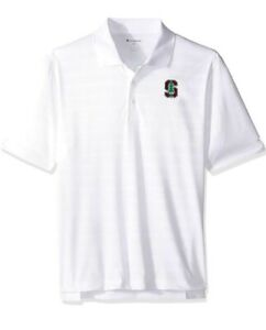NCAA Stanford Cardinals Champion Mens Textured Short Sleeve Polo White Size M