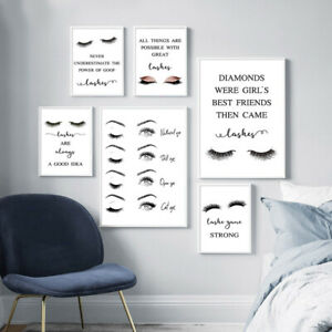 Eyelash Makeup Fashion Poster Quote Wall Art Picture Canvas  Print for Girl Room
