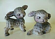 Vintage Lefton Japan Gray Baby Lamb Pair Sheep Figurines #3102
