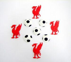 loose cake decorations 4 x birds and 5x footballs  Liverpool football