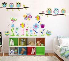 Colorato Fiori Gufi Rami D'albero Uccellino Per Bambini Rimovibile