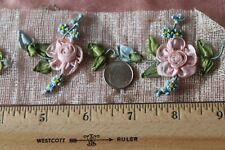 "5 Antique French c1910 Pink Silk Ribbonwork Rosettes~L-2"" X W-2.5"" (each one)"