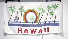 Vintage Hawaii Souvenir Beach Bath Towel Rainbow Bird Sailboat Palm Trees