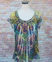 One World Live and Let Live L Top Shirt Scoop Neck NWOT Tunic Floral