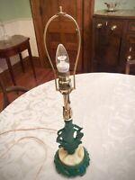 Antique Art Deco Jadeite Glass Cast Iron Nautical Table Lamp