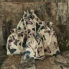 Linen drawstring bag/ Gift Bag with Butterfly print