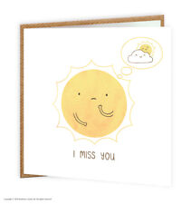 Miss missing you Greetings Card BrainBox Candy Cute Comedy Humour Sunshine Cloud