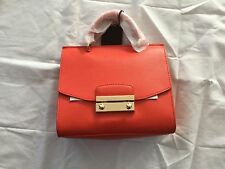 New nwt Furla Julia Leather Mini Top Handle Satchel ARANCIO ORANGE crossbody