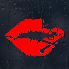 Kiss Lips Funny Pirate Skull Car Decal Vinyl Sticker For Window Bumper Panel