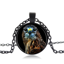 Hawk Black Glass Cabochon Necklace chain Pendant Wholesale