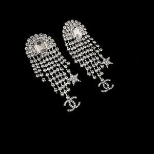 MINT!! $1550 Auth Chanel Crystal Fringe Star CC Logo Drop Silver Metal Earrings