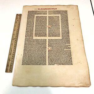 RARE 1486 Incunable Medieval Leaf Decretales By Pope Gregory IX - Manuscript