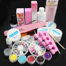 Pro Nail Kit Set Acrylic Glitter Nail Art Powder Glue File French UV Gel Tips