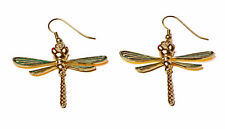 STUNNING GOLD TONE DRAGONFLY METAL DROP EARRINGS GREEN WINGS CUTE (ZX20)