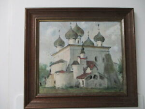 RUSSIAN OIL on CANVAS by HYP 1989 KSRPRONONE Cathedral OIL ON CANVAS