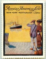 RUSSIAN AMERICAN Steamship LINE ~NY to LIBAU~ Beautiful SHIP Poster Stamp, 1920