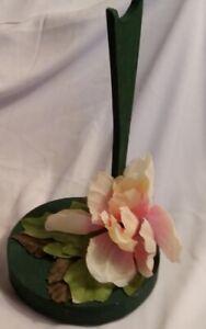 Handmade OOAK Wood Barbie/Ken Doll Saddle Stand~Med. Green w/Pink Peony & Leaves