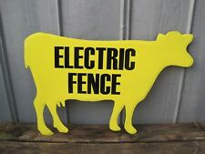 "Large 32"" Electric Fence Cow Metal Wall Sign Primitive Country Farm Sign B9273"