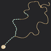 Women Vintage Turquoise Beads Charm Gold Plated Chain Pendant Collar Necklace