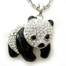 Very Lovely 3D Big Panda Twinkling Use Austria Crystal Necklace High Quality !