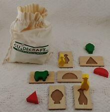 GUIDECRAFT 3D Puzzle Game FEEL & FIND EDUCATIONAL Set WOODEN Pieces COTTON Bag