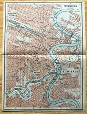 1907 Original WINNIPEG Canada  Antique Color Map - Authentic BAEDEKER w/ Streets