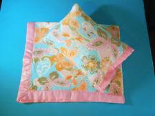 NEW Floral Butterflies Satin Fleece Childrens Blanket/Pillow Case Baby Gift