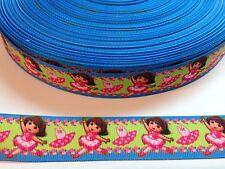"""5 Yards 1"""" Dora The Explorer Grosgrain Ribbon Hair Bow Supplies."""