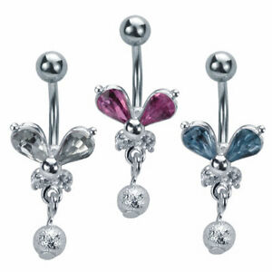 Surgical Steel Butterfly Body Piercing Belly Ring with CZ 3 Colors Dangling Bead