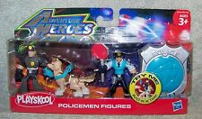 PLAYSKOOL ADVENTURE HEROES 2010 POLICEMEN WITH POLICE DOG FIGURE SET