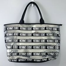 Victoria's Secret Silver Sequin and Black Weekender Tote Bag Beach