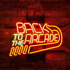 """""""Back to the Arcade"""" Neon Sign Canteen Wall Bistro Game Room Art Window Light"""