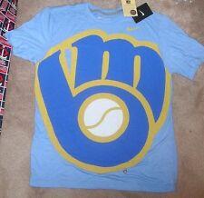 NEW MLB Milwaukee Brewers NIKE OVERSIZED Logo Men XL X-Large Tri Blend NEW NWT