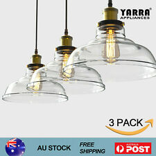 2x Industrial Kitchen Pendant Light Glass Shade E27 Raindrop Chandelier Lighting