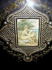 Gorgeous Framed Victorian Silk Work Stitching with Original Glass & Frame